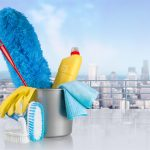 Cleaning Supplies With City Background